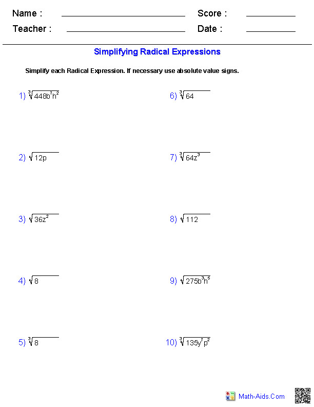 Simplifying Radical Expressions Worksheets