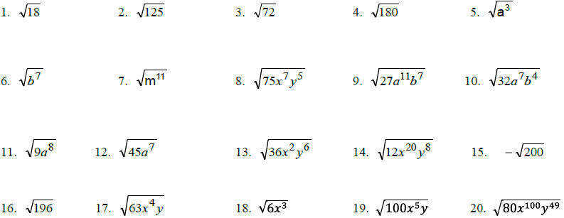 Simplifying Radicals Worksheet Answers Algebra 1 Templates and