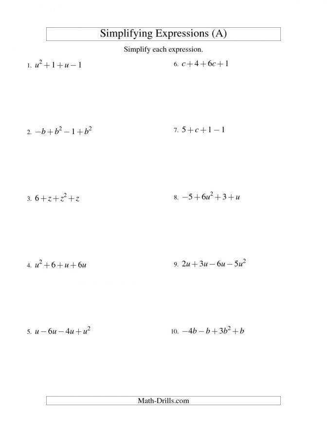 Simplifying Algebraic Expressions With e Variable And Four Terms Addition Subtraction Worksheets Algebra Expressions Simplifying