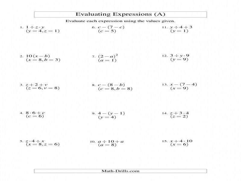 Evaluating Two Step Algebraic Expressions With Two Variables A