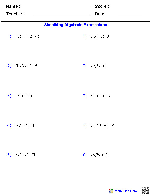 Algebraic Expressions Simplifying Variables · Simplifying Variables Worksheets