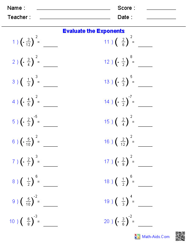 Fractions with Exponent Worksheets