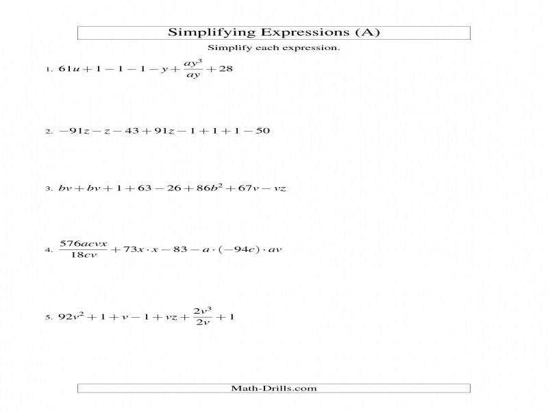 Simplifying Algebraic Expressions Challenge A