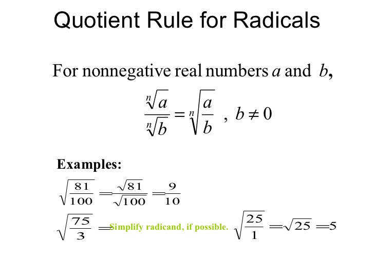 7 Quotient Rule for Radicals Examples Simplify