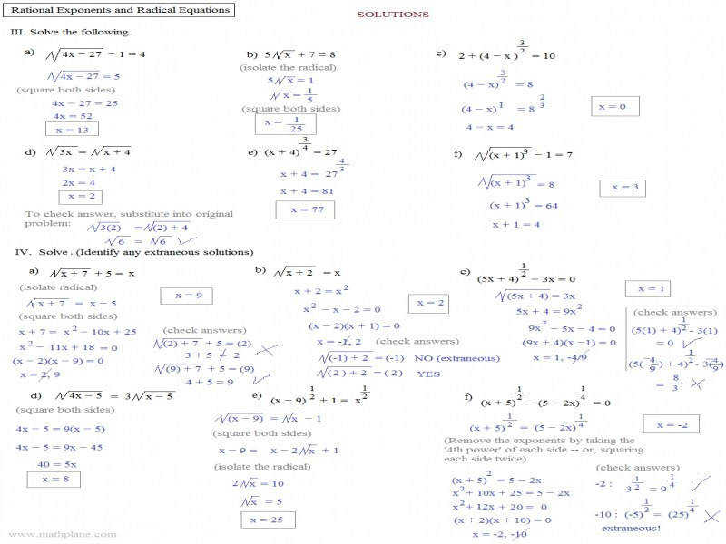 Solving Radical Equations With Rational Exponents Worksheet