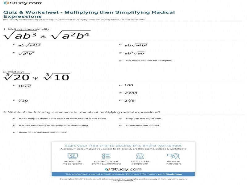 Quiz & Worksheet – Multiplying Then Simplifying Radical