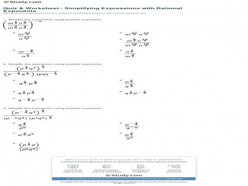 Quiz & Worksheet Simplifying Expressions With Rational Exponents
