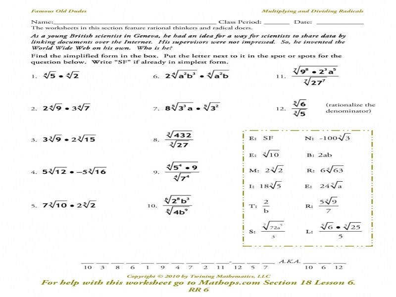 Rr 6 Multiplying And Dividing Radicals – Mathops
