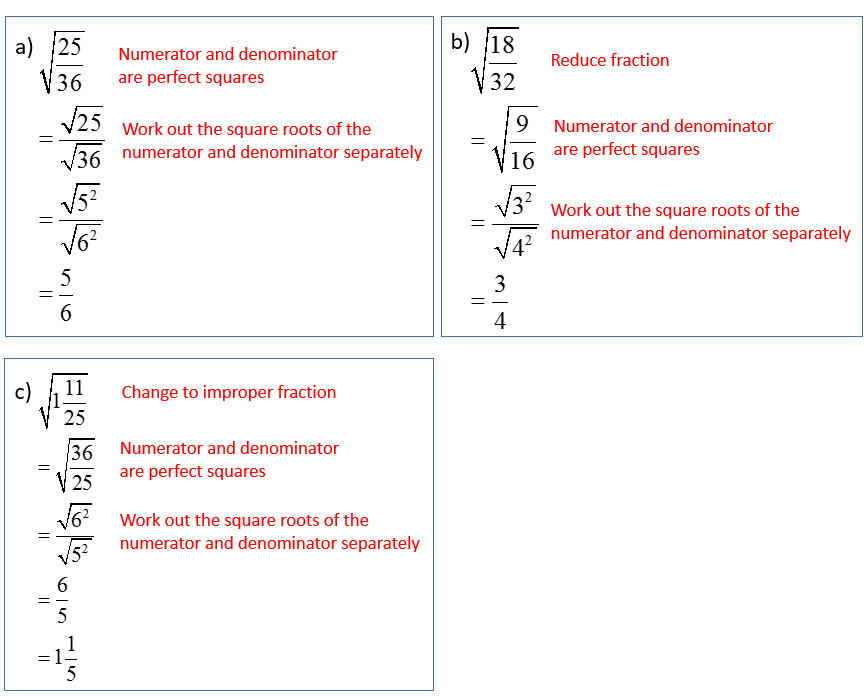 Simplify Squares Roots Radicals that have Fractions solutions examples videos