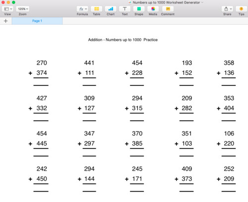 Addition Numbers up to 1000 Worksheet Generator Singapore Math by moomel Teaching Resources Tes