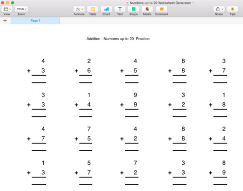 Addition Numbers up to 20 Worksheet Generator Singapore Math by moomel Teaching Resources Tes