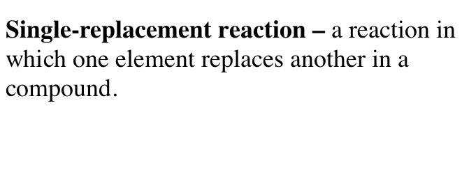 Define Single replacement Reaction