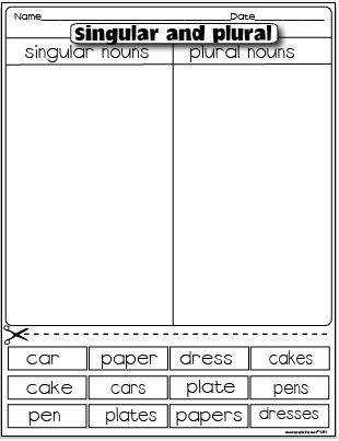 The Lesson Plan Diva Freebies Singular noun plural noun sorting activity