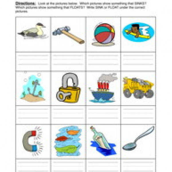 Sink And Float Worksheet Tecnologialinstante