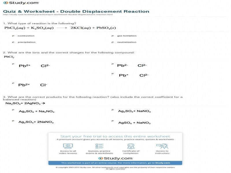 Quiz & Worksheet Double Displacement Reaction