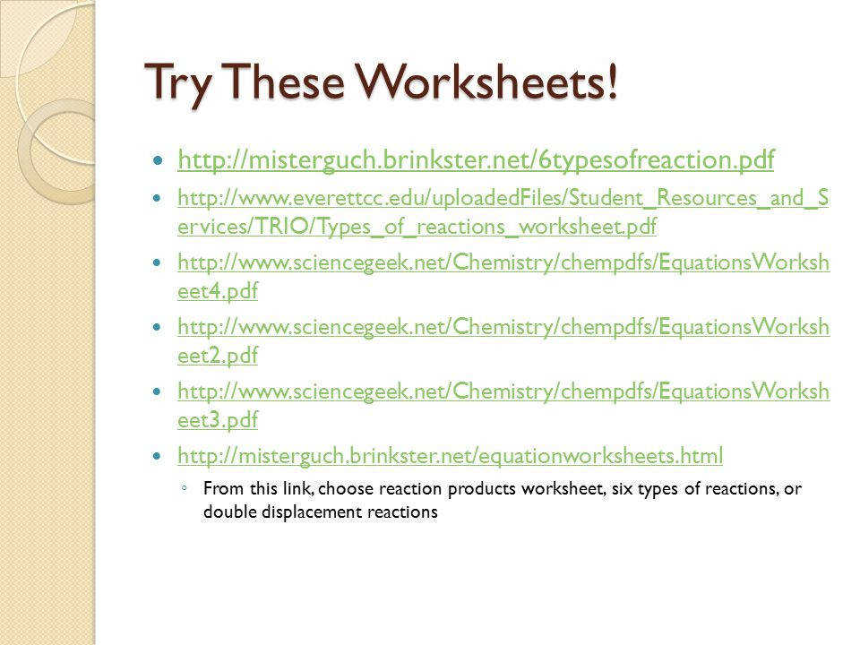 Try These Worksheets