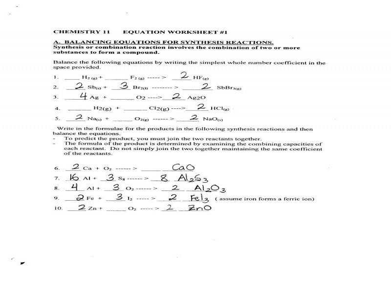 Astounding Worksheet Writing And Balancing Chemical Reactions Six