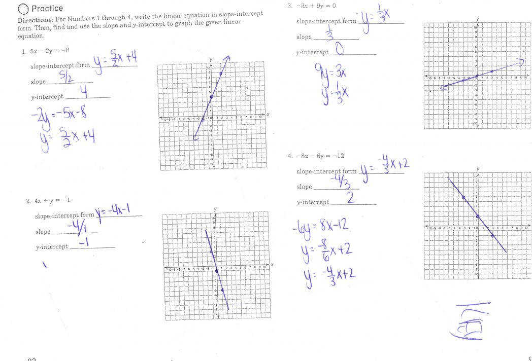 Slope Y Intercept Worksheets Form To V