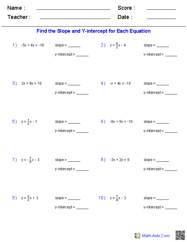 Slope and Y Intercept Worksheet