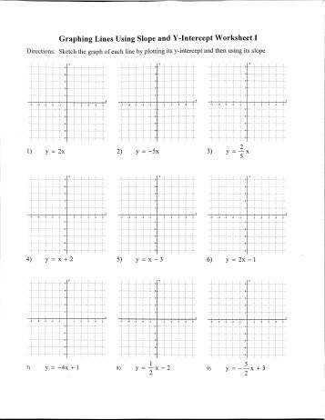 Graphing Linear Equations Not In Slope Intercept Form Worksheet