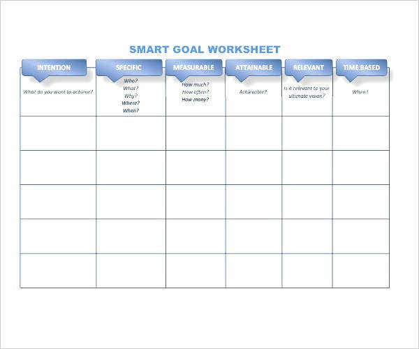 Smart Goal Worksheet Xlsx Pleasing Goals Template