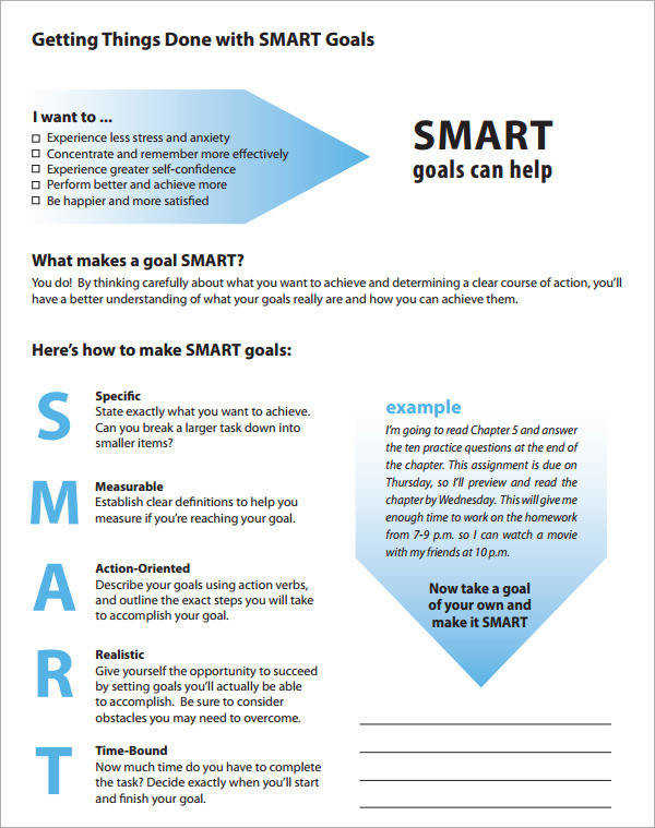 Smart Goals Definition Template