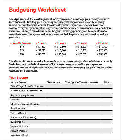 Free Home Bud ing Worksheet