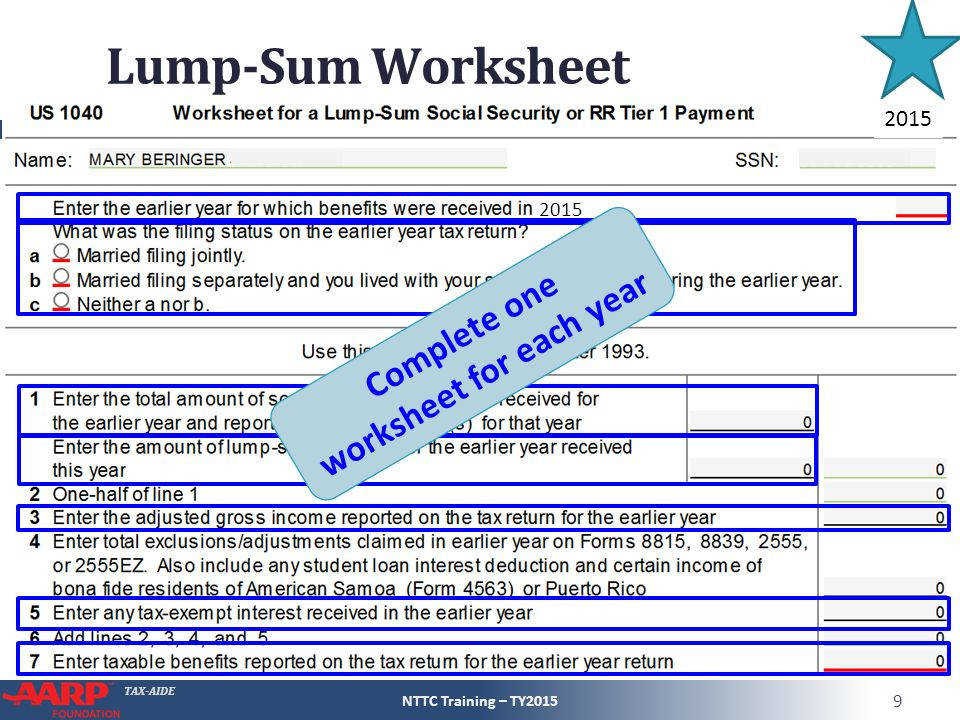plete one worksheet for each year
