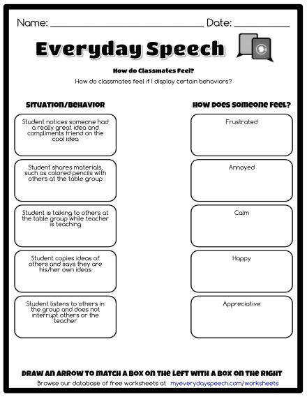 Free Social Skills Worksheets and Worksheet Creator