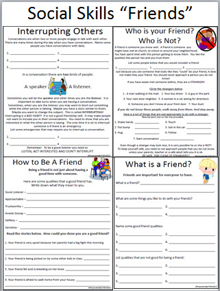 Here are some social skills worksheets I put to her for my class These are some of the issues we deal with on a daily basis I bought some cute social