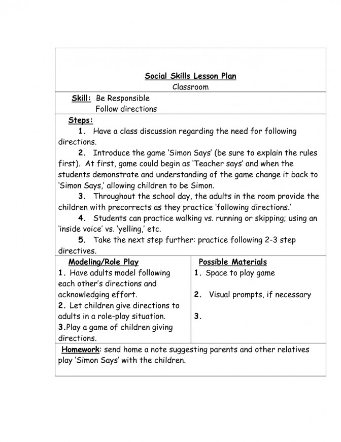 19 Best Social Skills Worksheets And Activities Lesson Plans For Adults Plan Template 1