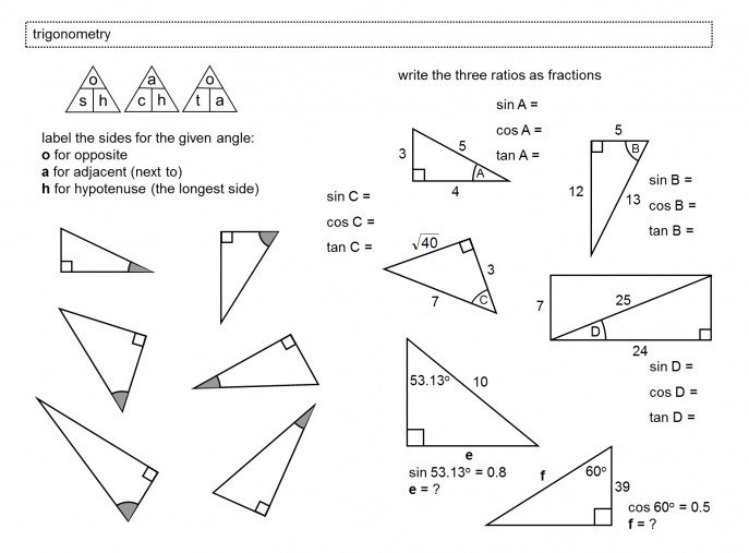 Stunning Right Triangle Trig Worksheet Worksheets For School Newpcairport Trigonometry Triangles And Circles Picture Medium size
