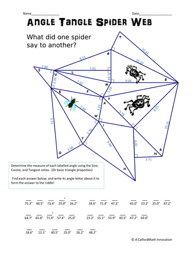 Angle Tangle Spiderweb Solving for angles with SohCahToa