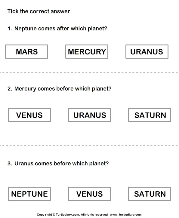 Solar System Choose the Correct Option
