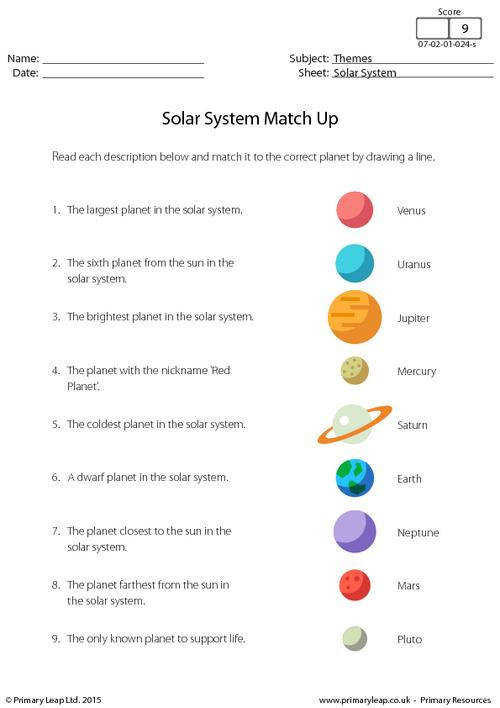 PrimaryLeap Solar System Match Up Worksheet