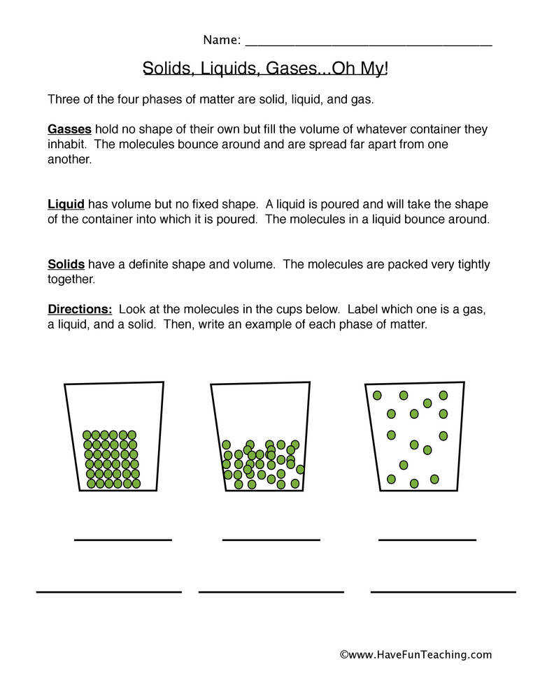 States of Matter Worksheet – Solid Liquid and Gas