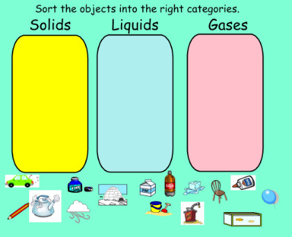 Sorting Solids Liquids and Gases