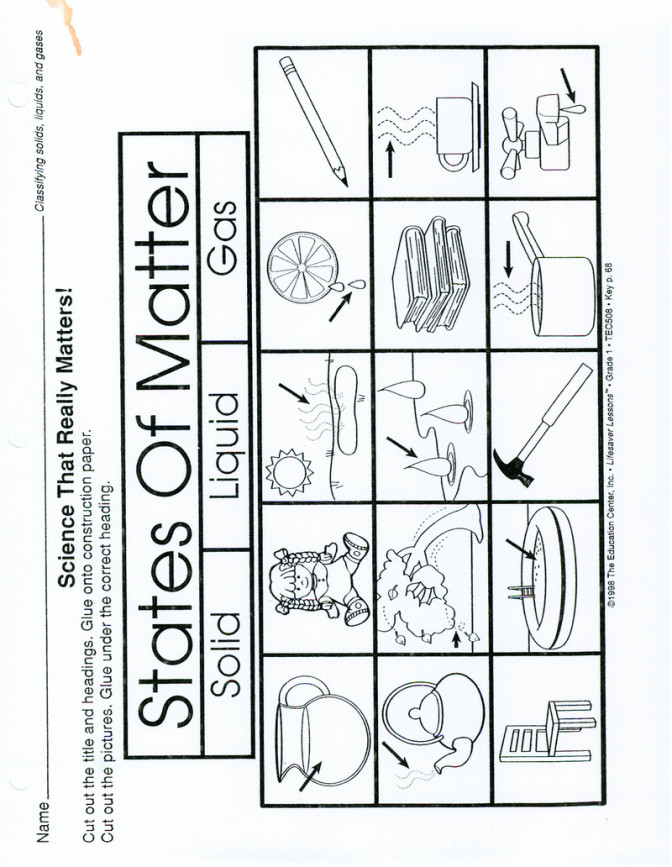 Page 1 States Matter Worksheet Make A 3 Part Foldable Solid Fb2d0be5ad2c522a87c600e57c7 Solid Liquid Gas