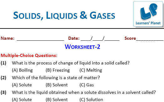 class 4 printable worksheets on Solids Liquids & Gases