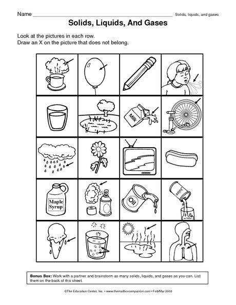 Solid Liquid or Gas Worksheet solids liquids and gases solids