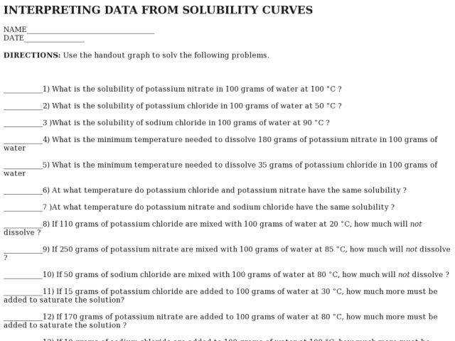 Interpreting Data From Solubility Curves 9th Higher Ed Worksheet