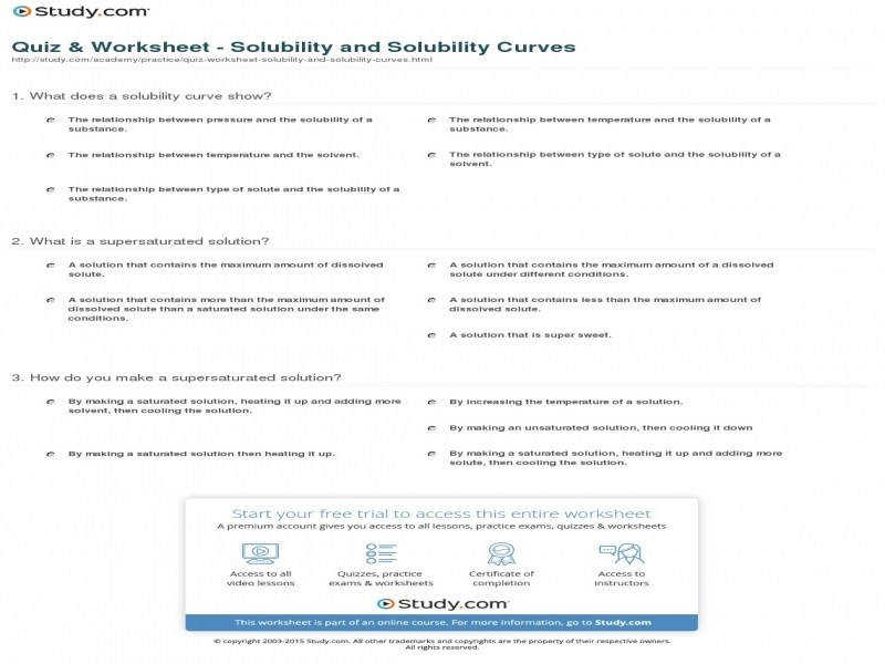 Quiz & Worksheet – Solubility And Solubility Curves