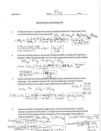 Percent Yield Worksheet 1 | Stoichiometry | Chemical Reactions