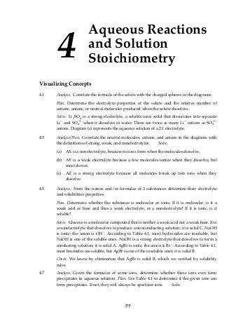 4 Aqueous Reactions and Solution Stoichiometry