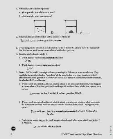 Saturated and Unsaturated Solutions Worksheet