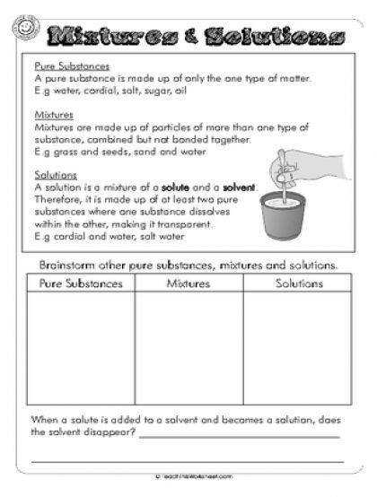 Solutes And Solvents Worksheet Delibertad