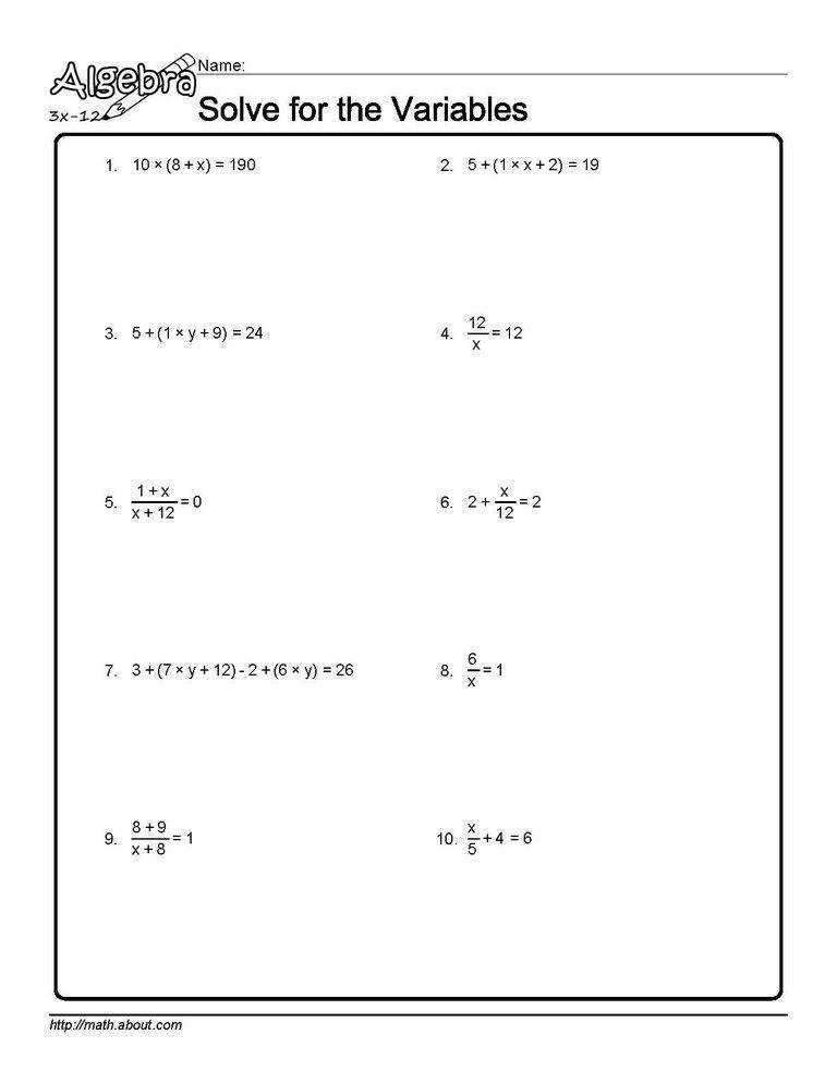 Solve for the Variables Worksheet 5 of 10