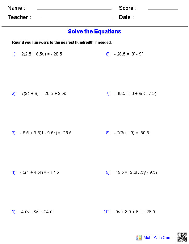 Multiple Step Equations Decimals Worksheets