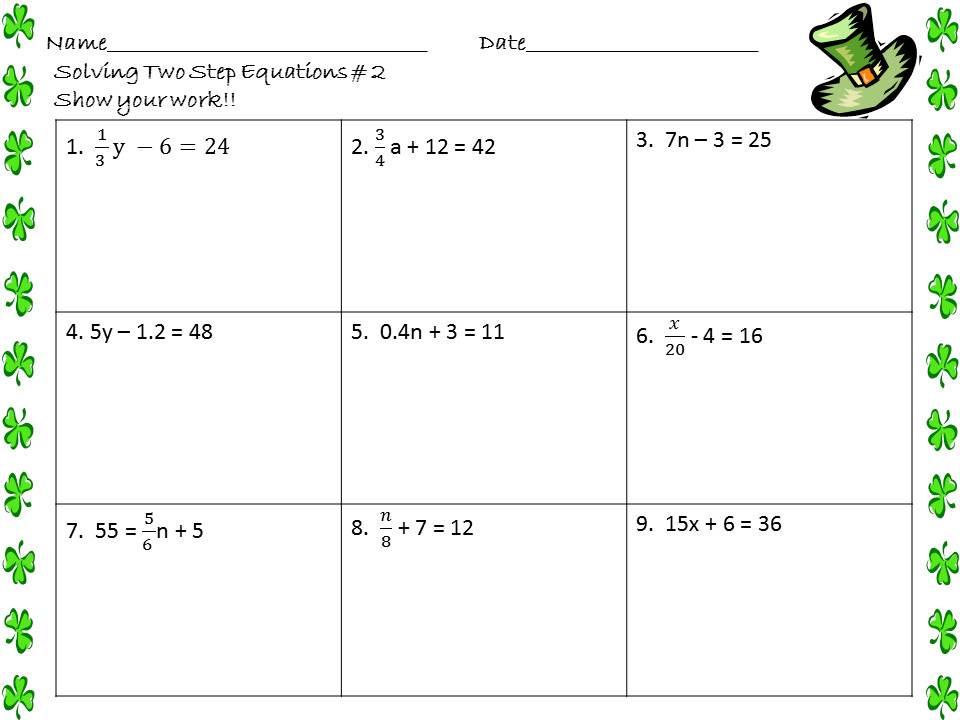 Two Step Equations Worksheets St Patricks Day