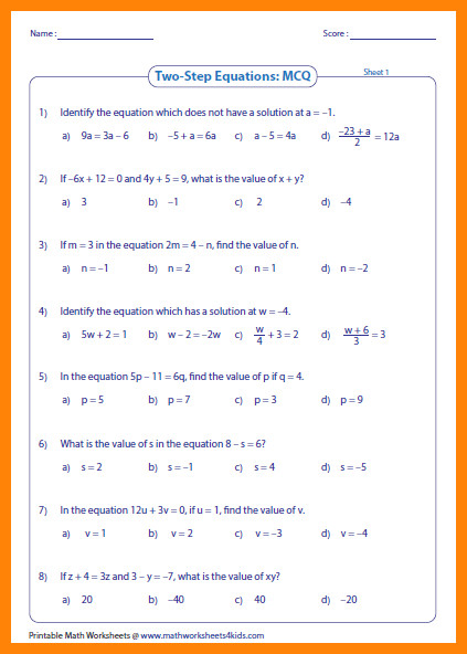 2 step equations worksheetsq large